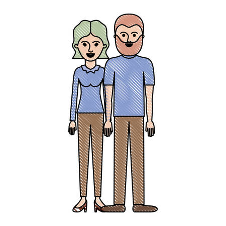 Couple in colored crayon silhouette and her with blouse long sleeve and pants and heel shoes with short wavy hair and him with t-shirt and pants and shoes with short hair and beard. Vector illustration