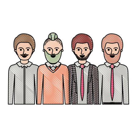 men in half body with casual clothes with short hair and some with beard and moustache in colored crayon silhouette vector illustration. Illustration