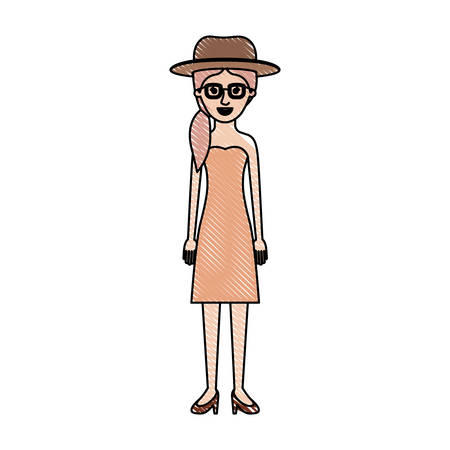 Woman with hat and glasses and strapless dress and heel shoes with pigtail hairstyle in colored crayon silhouette vector illustration.