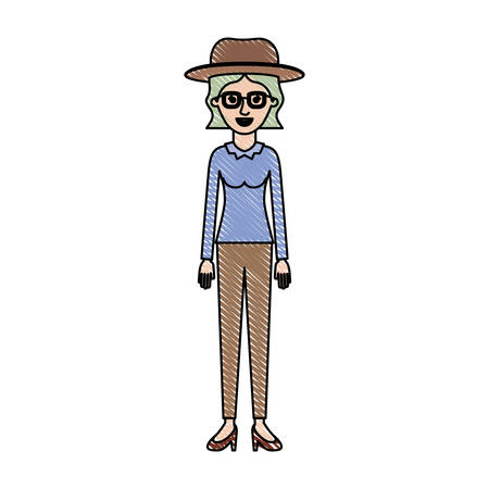 Woman with hat and glasses and blouse long sleeve and pants and heel shoes with short wavy hair in colored crayon silhouette vector illustration.