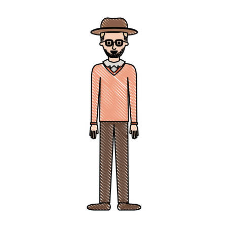 Man with hat and glasses and sweater and pants and shoes with short hair and stubble beard in colored crayon silhouette vector illustration.