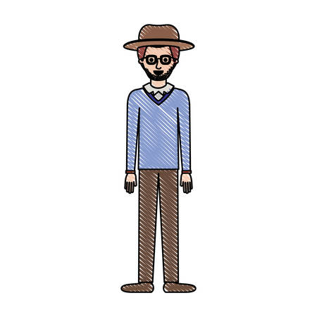 man with hat and glasses and sweater and pants and shoes with stubble beard in colored crayon silhouette vector illustration