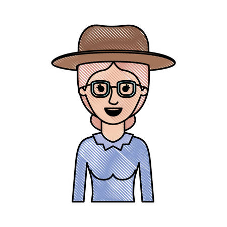 woman half body with hat and glasses and blouse long sleeve with collected hair in colored crayon silhouette vector illustration
