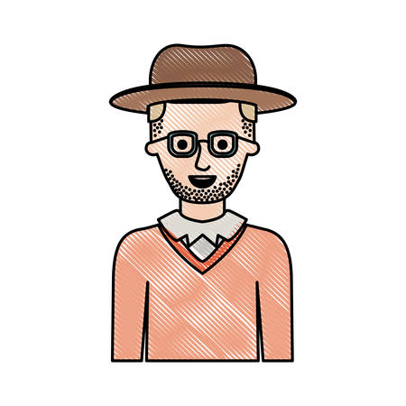 man half body with hat and glasses and sweater with short hair and stubble beard in colored crayon silhouette vector illustration Vettoriali