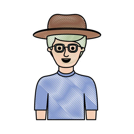 man half body with hat and glasses and t-shirt with short hair in colored crayon silhouette vector illustration Illustration