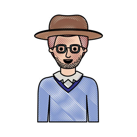 man half body with hat and glasses and sweater with stubble beard in colored crayon silhouette vector illustration