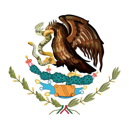 mexican flag emblem of colorful silhouette of eagle with rattlesnake in peak over plant of cactus vector illustration