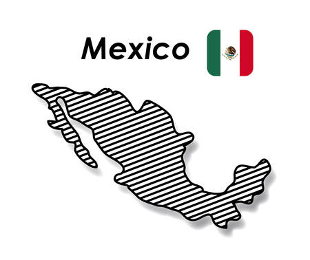 mexico poster with monochrome map striped and mexican flag in colorful silhouette vector illustration