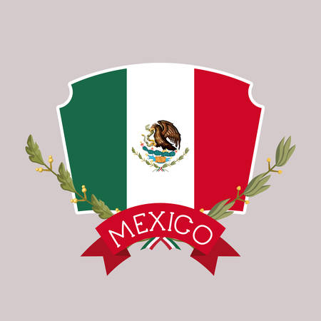 mexico insignia flag with ribbon in colorful silhouette vector illustration