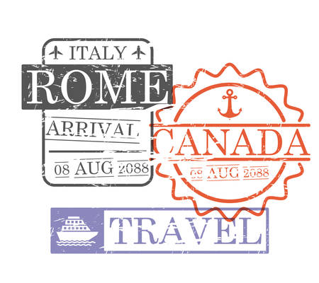 Arrival ship travel stamps of Rome and Canada in colorful silhouette vector illustration.
