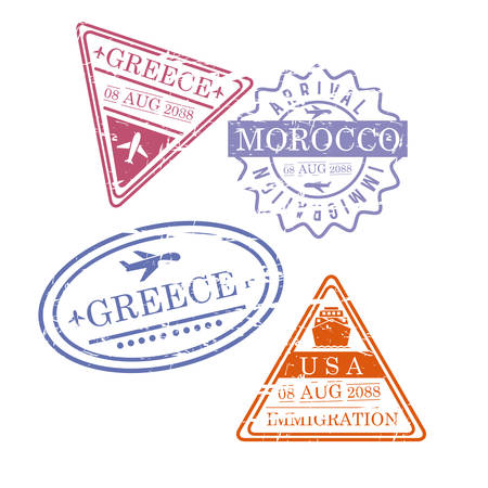 Airplane travel stamps Greece, Morocco, Usa in colorful silhouette illustration. Illustration