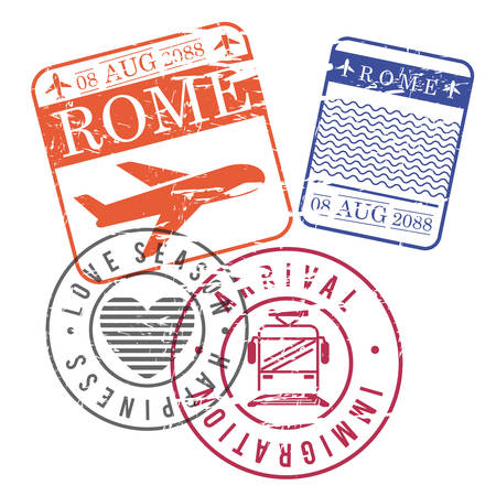 Airplane and train travel stamps of Rome in colorful silhouette illustration. Illustration