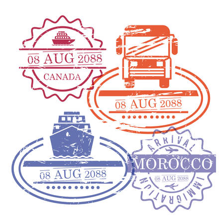 ship and bus travel stamps of canada and morocco in colorful silhouette vector illustration