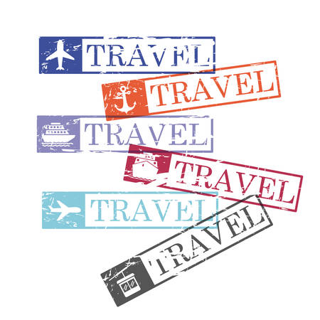 ship and airplane and cableway travel rectangular stamps in colorful silhouette vector illustration