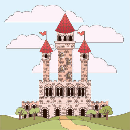 landscape with princesses castle and sky with clouds in colorful silhouette vector illustration Vettoriali