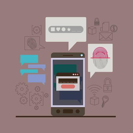 mobile security with smartphone with key lock and fingerprint in thistle color background vector illustration Ilustração