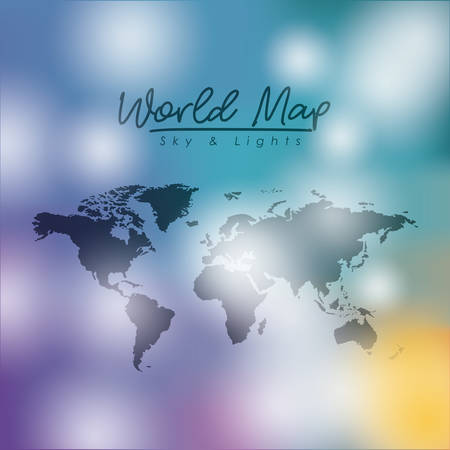 World map sky and lights in degraded colorful silhouette illustration.