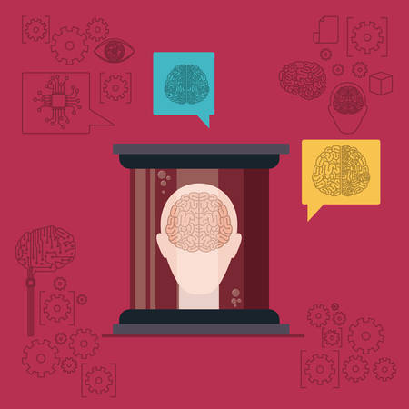 Human head silhouette with brain in front view in transparent container in dark red background vector illustration.