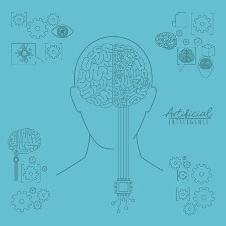 Artificial intelligence human head silhouette front view with hybrid brain over light blue background vector illustration.