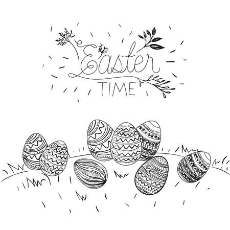 Easter time poster with outdoor scene with Easter eggs in grass in monochrome silhouette illustration. Illustration