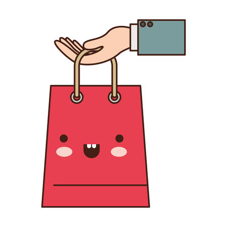 hand holding a trapezoid   shopping bag in colorful silhouette vector illustration Illustration