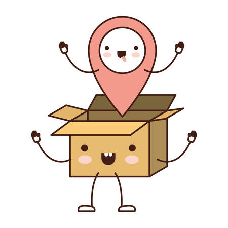 Animated opened kawaii cardboard box with kawaii map pointer on top in colorful silhouette vector illustration.