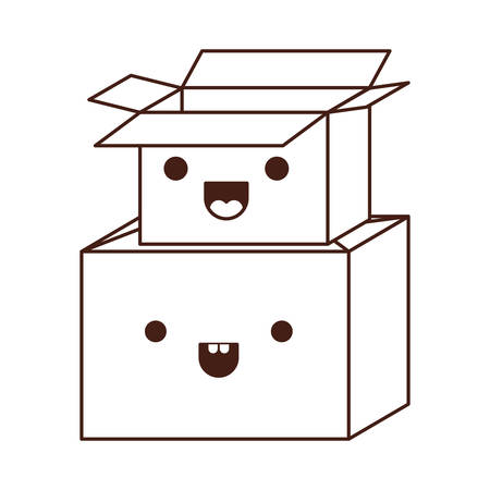 cardboard boxes stacked in monochrome silhouette vector illustration