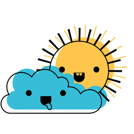 kawaii cloud and sun in watercolor silhouette vector illustration. Illustration