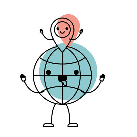Animated world globe and  map pointer on top in watercolor vector illustration.