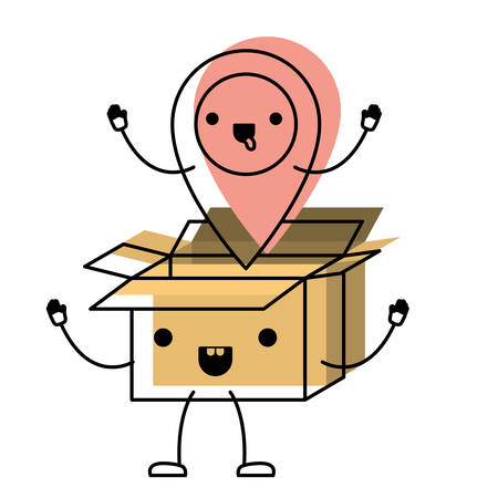 Animated opened cardboard box with map pointer on top in watercolor  vector illustration.