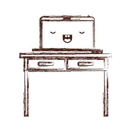 Desk table with drawers and laptop computer above in monochrome blurred silhouette vector illustration