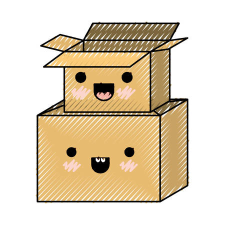 Cardboard boxes stacked in colored crayon silhouette vector illustration