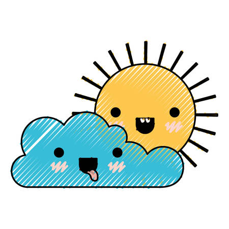 Kawaii cloud and sun in colored crayon silhouette vector illustration.