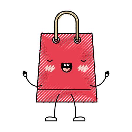 Trapezoid animated shopping bag icon with handle in colored crayon silhouette vector illustration