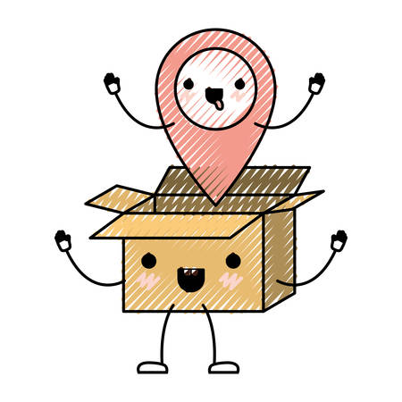 Animated opened cardboard box with map pointer on top in colored crayon silhouette vector illustration