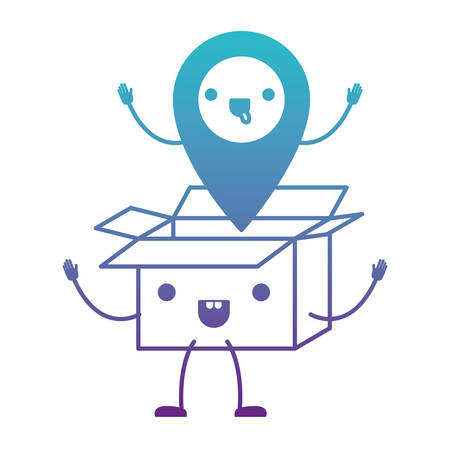 Animated opened kawaii cardboard box with kawaii map pointer on top in degraded blue to purple color contour vector illustration.