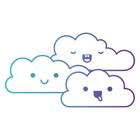Kawaii cumulus clouds icon flat in degraded blue to purple color contour vector illustration.