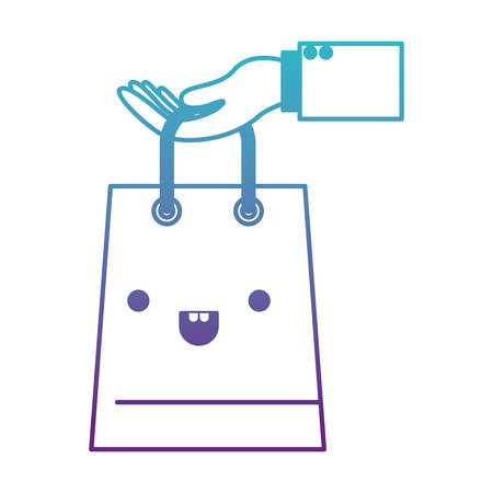 hand holding a trapezoid kawaii shopping bag in degraded blue to purple color contour vector illustration