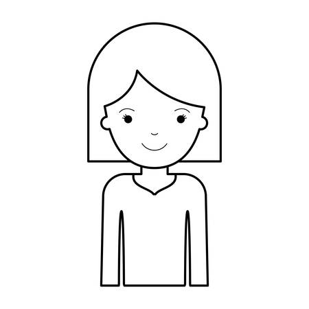 Half body woman with hair middle length in black silhouette vector illustration.