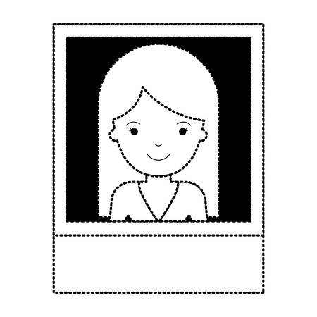 Identification photo of woman with long straight hair in black dotted silhouette vector illustration.