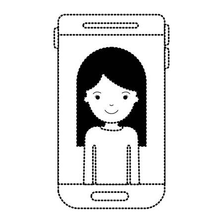 Smartphone woman profile picture with long straight hair in black dotted silhouette vector illustration
