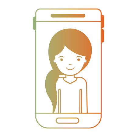 smartphone woman profile picture with pigtail hairstyle in degraded green to red color silhouette vector illustration