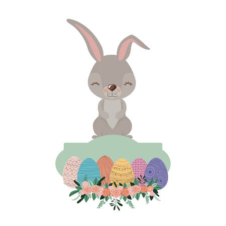 bunny on top of frame with easter eggs and ornament floral in colorful silhouette vector illustration Illustration