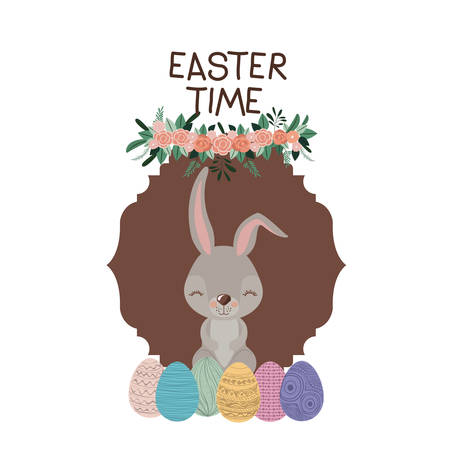 Easter time frame with bunny and easter eggs and ornament floral in colorful silhouette vector illustration