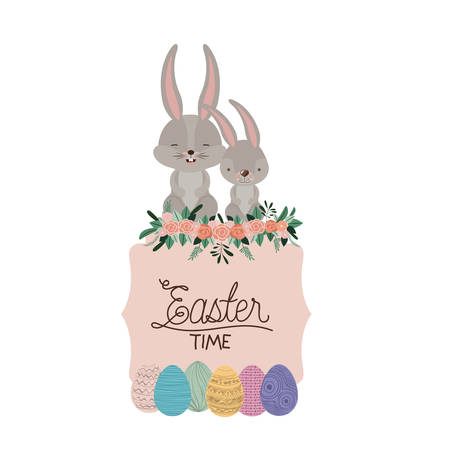 Easter time frame with bunnies couple on top and easter eggs and ornament floral in colorful silhouette vector illustration Illustration