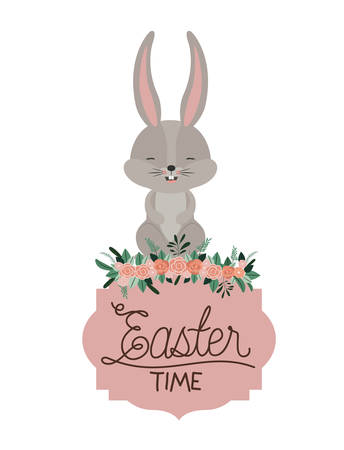 Easter time frame with bunny on top and ornament floral in colorful silhouette vector illustration