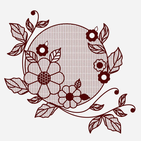 Floral lace ornament circular in monochrome silhouette vector illustration.