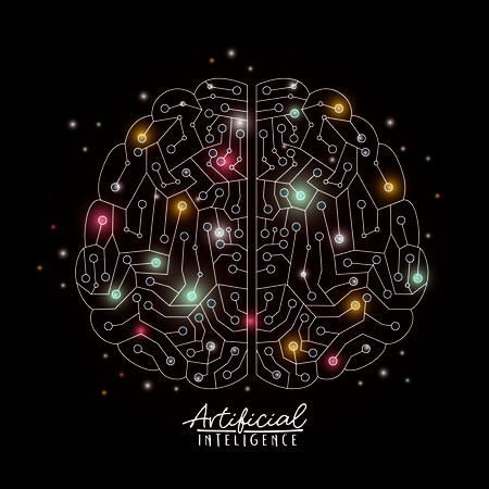 artificial intelligence poster with brain top view in transparency over black background with colorful sparkles vector illustration