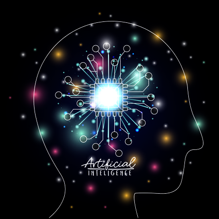 artificial intelligence poster human head silhouette side view with chip microprocessor in transparency over black background with sparkles vector illustration