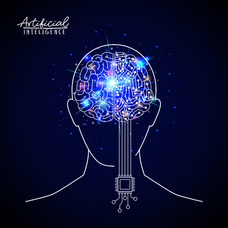 artificial intelligence poster with human head silhouette with hybrid brain in transparency over dark blue background with sparkles vector illustration